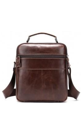 Коричневая кожаная сумка - барсетка Vintage 14835