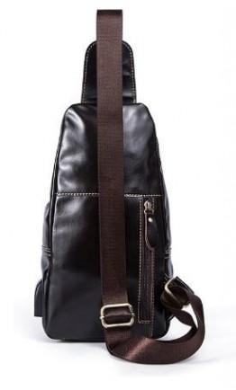 Кожаный мужской слинг темно-коричневый Vintage 14838