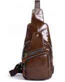 Фотография Мужская кожаная коричневая сумка - слинг Vintage 14839