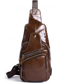Мужская кожаная коричневая сумка - слинг Vintage 14839