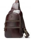 Фотография Слинг мужской кожаный коричневый Vintage 14853
