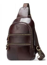 Слинг мужской кожаный коричневый Vintage 14853