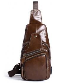 Коричневый мужской кожаный слинг Vintage 14873