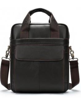 Серо-коричневая сумка кожаная формата А4 Vintage 14876