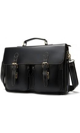 Черный мужской кожаный портфель Vintage 14878