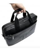 Фотография Черная деловая сумка из зернистой натуральной кожи Vintage 14886