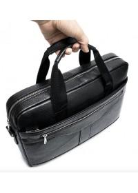 Черная деловая сумка из зернистой натуральной кожи Vintage 14886