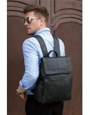 Фотография Черный мужской кожаный удобный рюкзак 14891