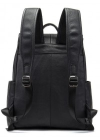 Черный мужской кожаный удобный рюкзак 14891