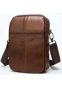 Мужская компактная кожаная коричневая сумка Vintage 14898
