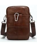 Фотография Мужская компактная кожаная коричневая сумка Vintage 14898