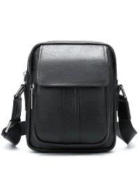 Мужская маленькая сумка кожаная черная Vintage 14943