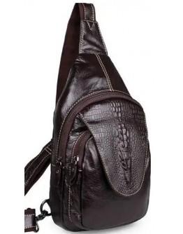 Кожаный коричневый рюкзак с тиснением 77301q