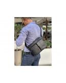 Фотография Кожаная черная мужская сумка на плечо 71044A