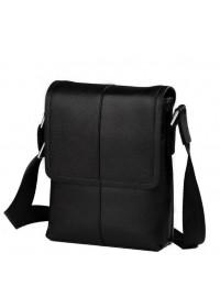 Повседневная черная сумка мужская на плечо 1506-1