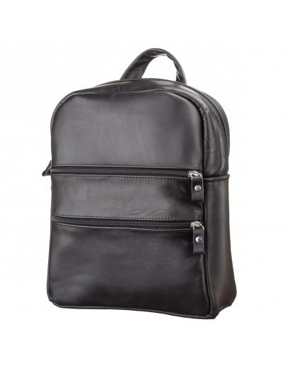 Фотография Черный женский удобный кожаный рюкзак SHVIGEL 15304