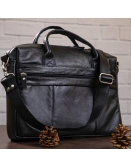 Черная мужская сумка из мягкой натуральной кожи SHVIGEL 15306