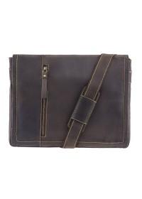 Большая коричневая винтажная сумка на плечо Visconti 16072 Foster (L) (Oil Brown)