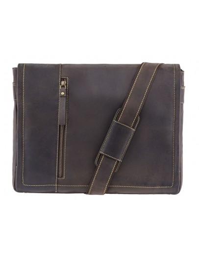 Фотография Большая коричневая винтажная сумка на плечо Visconti 16072 Foster (L) (Oil Brown)