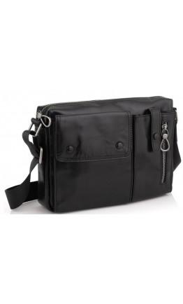 Черная сумка на плечо кожаная Tiding Bag 1628A