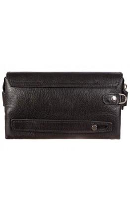 Кожаный черый мужской фирменный клатч KARYA 17228