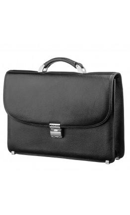 Черный деловой мужской кожаный портфель KARYA 17267