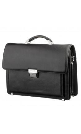 Кожаный фирменный черный деловой портфель KARYA 17268