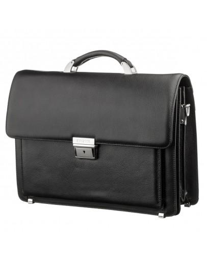 Фотография Кожаный фирменный черный деловой портфель KARYA 17268
