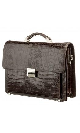 Коричневый кожаный портфель с тиснением KARYA 17270