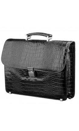 Кожаный мужской портфель с тиснением под крокодила KARYA 17273