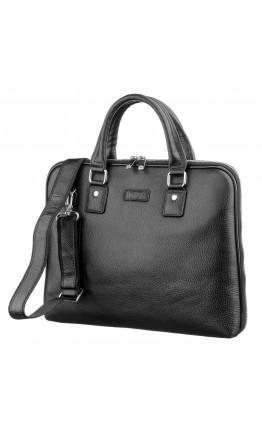 Черная деловая мужская кожаная сумка KARYA 17278