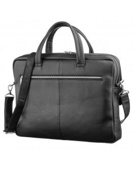 Черная кожаная мужская сумка KARYA 17279
