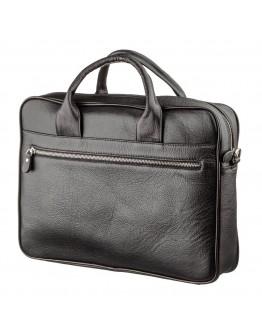 Черная фирменная деловая кожаная сумка KARYA 17284