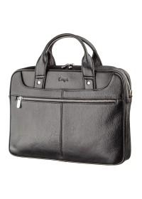 Черная мужская деловая кожаная фирменная сумка KARYA 17285