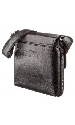 Черная кожаная мужская сумка на плечо KARYA 17286