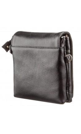 Черная кожаная небольшая барсетка - сумка KARYA 17360