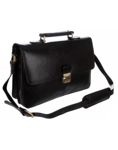 Фотография Кожаный мужской портфель, черный Visconti 18074