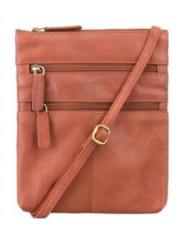 Рыжая кожаная сумка на плечо 18606 Slim Bag (Brown)