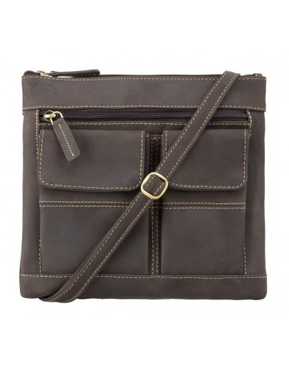 Фотография Темно-коричневая сумка на плечо Visconti 18608 Slim Bag (Oil Brown)
