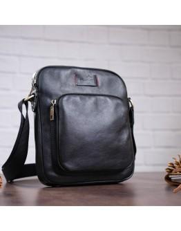 Черная кожаная мужская плечевая сумка SHVIGEL 19111