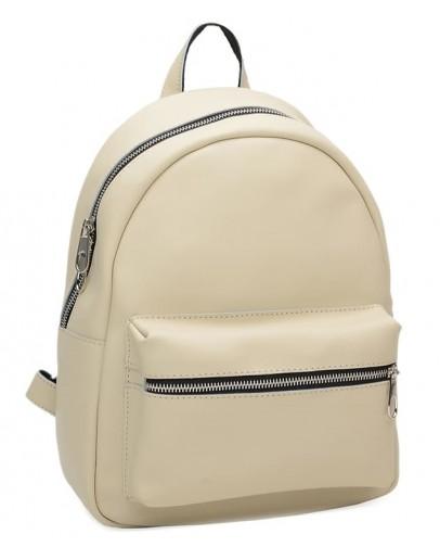 Фотография Женский кожаный бежевый матовый рюкзак Ricco Grande 1l655-beigemat
