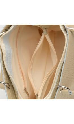 Кожаная женская бежевая сумка c тиснением Ricco Grande 1l797rep-beige