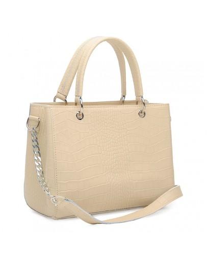Фотография Кожаная женская бежевая сумка c тиснением Ricco Grande 1l797rep-beige