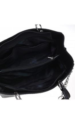 Кожаная женская черная сумка с тиснением Ricco Grande 1l797rep-black