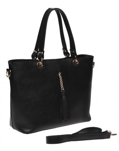 Фотография Черная женская кожаная сумка Ricco Grande 1L953-black