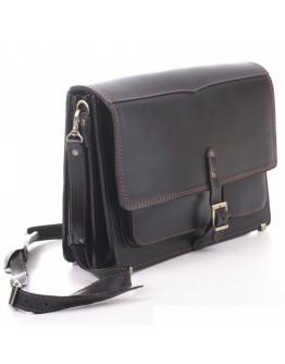 Вместительная кожаная черная сумка на плечо Manufatto 2-pochtaljon