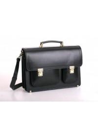 Черный кожаный мужской прочный портфель Manufato 2-sps black bl