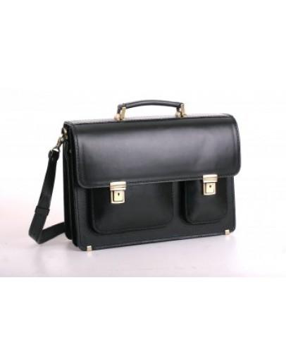 Фотография Черный кожаный мужской прочный портфель Manufato 2-sps black bl