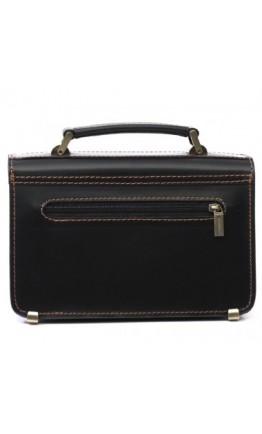 Черная мужская барсетка с коричневой нитью Manufatto 2-vis black b