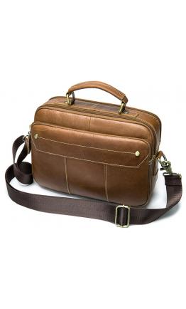 Мужская рыжая кожаная горизонтальная сумка Vintage 20005